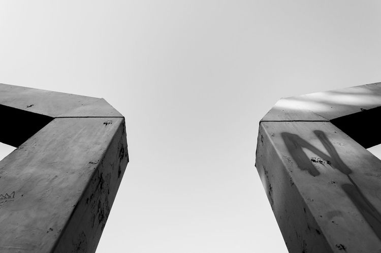 Abstract Abstract Photography Architecture Basketball Black & White Building Built Structure City Clear Sky Day High Section Low Angle View Modern No People Outdoors Part Of Shapes And Lines Shapes And Patterns  Sky Tall Tall - High Urban Geometry