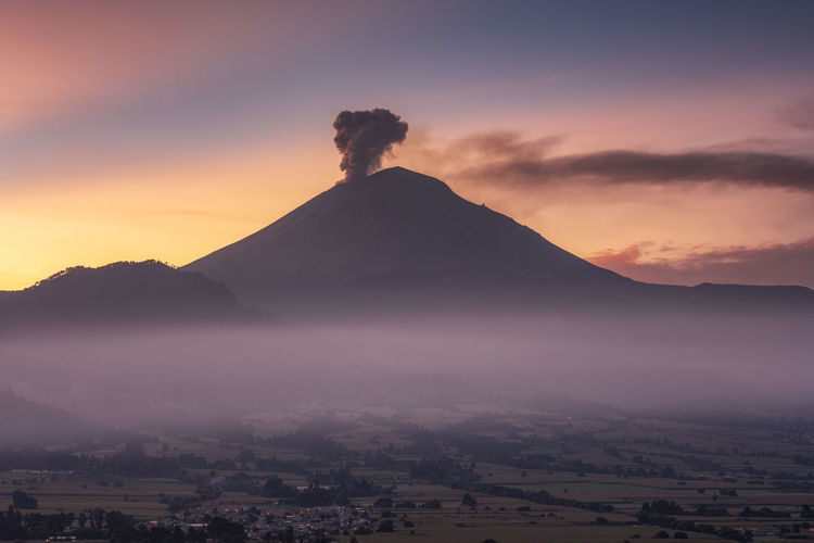 Popocatepetl volcano at sunrise