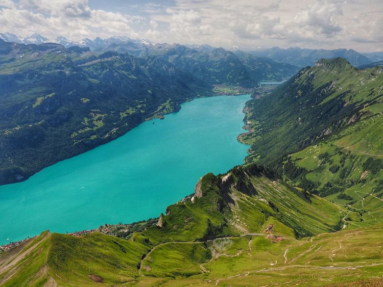 EyeEm Selects Mountain Beauty In Nature Scenics Nature Tranquil Scene Tranquility High Angle View Sea No People Water Outdoors Landscape Sky Day Green Color Physical Geography Switzerland Switzerlandpictures Brienzersee Brienzerrothorn Bernese Oberland Mountain Range
