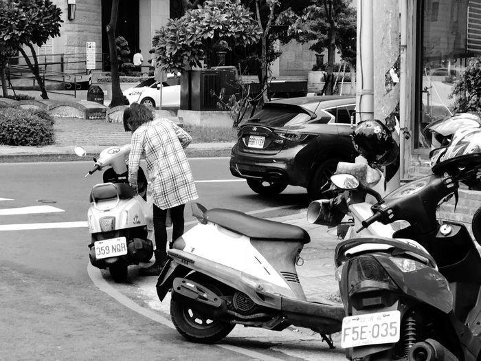 Street photography series: Shouldn't stop here Black And White Photography Street Photography Nankan My Asia Trip 2018 Mode Of Transportation Transportation Motor Vehicle Land Vehicle Car Street City Real People Day Building Exterior Rear View Road Scooter Full Length Incidental People