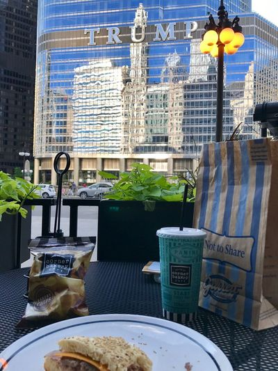 Lunch Architecture Food And Drink Food Outdoors Day Building Exterior City No People Table Cityscape Tourism Chicago Architecture Chicago Fresh Trump Tower Trump International Hotel & Tower Trump Corner Bakery Summer Summertime Summerday Garrett Popcorn Popcorn