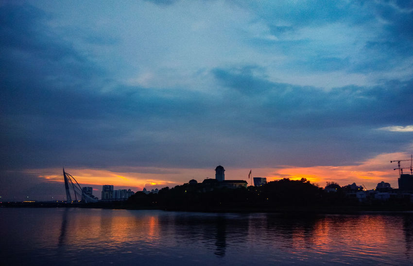 Reflection Sunset Night Sky Architecture Cloud - Sky Water Blue Outdoors Nature No People Astronomy City Scenics Building Exterior Cityscape Star - Space Beauty In Nature Tree Galaxy