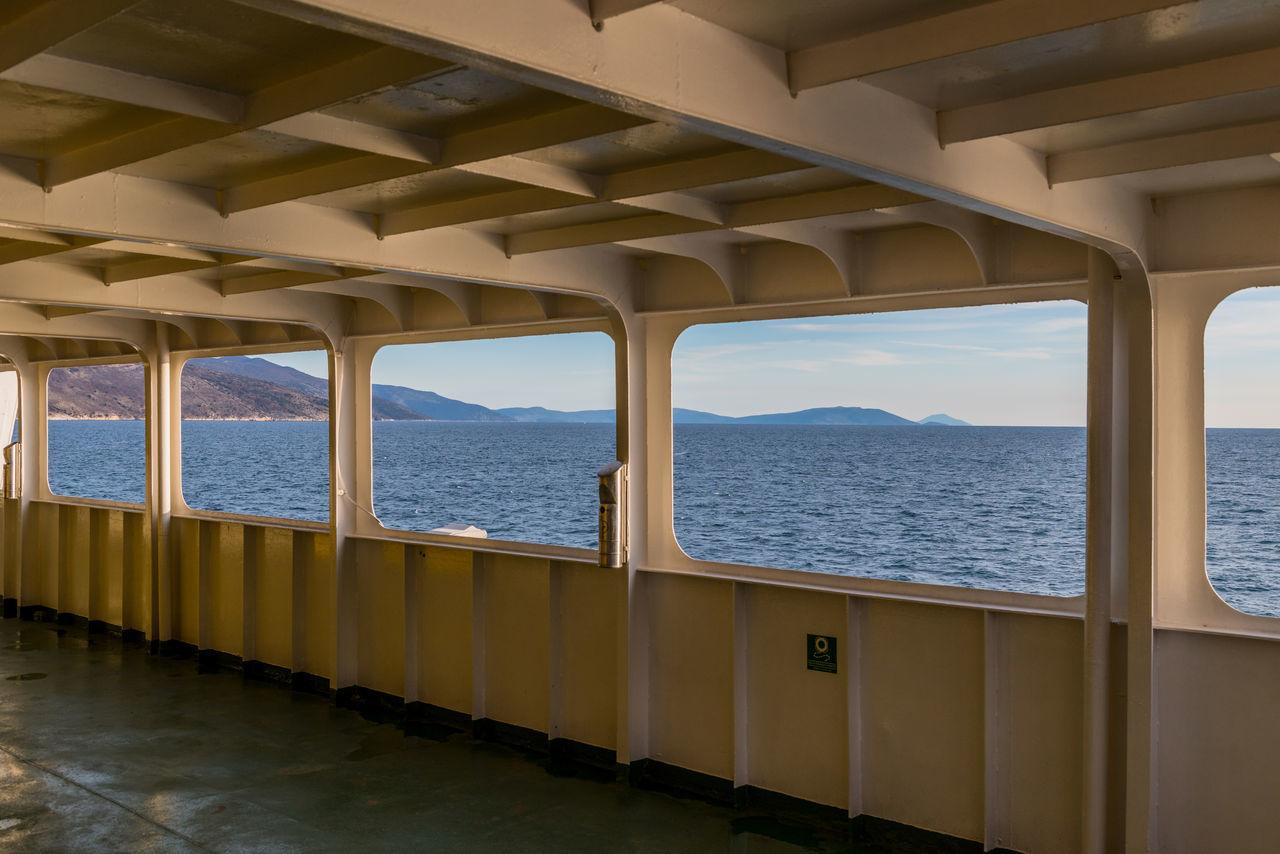 Adriatic sea seen through ferry boat window