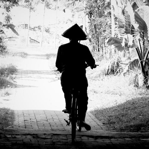 Old man whit old becycle Becycle Old Forward Black And White INDONESIA