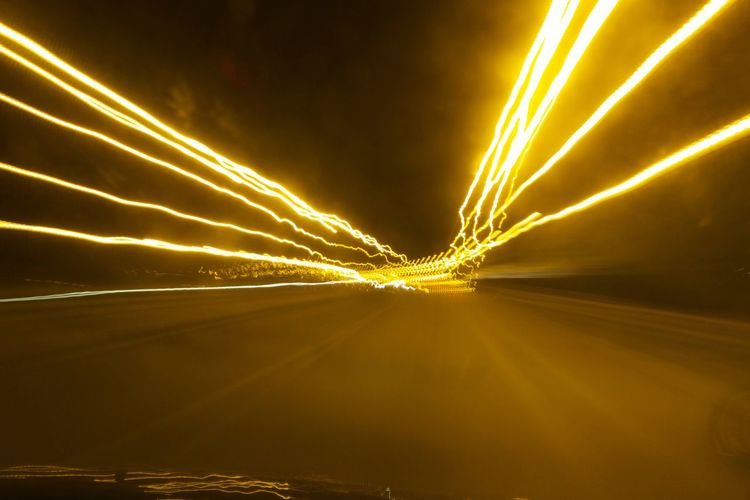 Abstract Glowing Light Long Exposure Night Lights Road Roadtrip Sign
