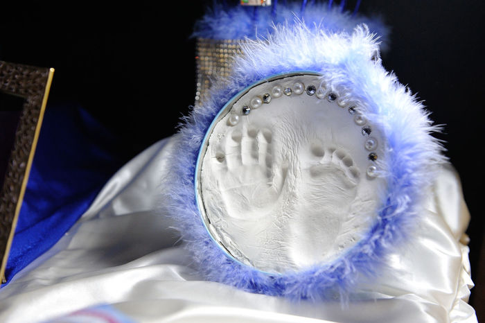 Blue Child's Foot Child's Hand Gypsum Imprint Memory Plaster Cast White