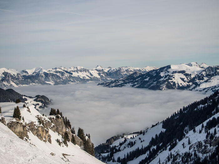 Snow Covered Landscape And Clouds