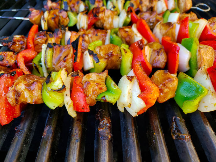 Close-up of vegetables on barbecue grill