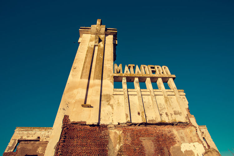 Abandoned Architecture Blue Built Structure Clear Sky Day High Section Low Angle View Matadero No People Old Outdoors Sky Sunny