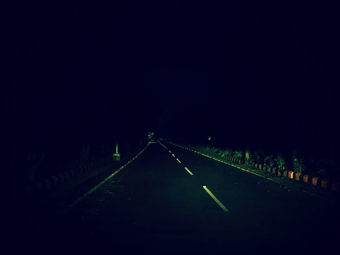 Night The Way Forward Tranquil Scene Tranquility Nature Outdoors Road