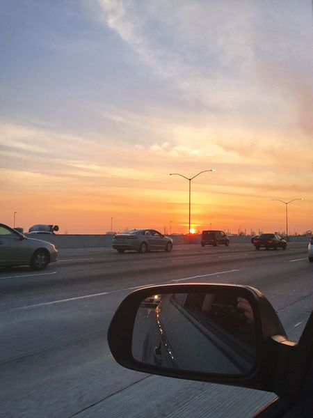 California Freeway at Sunset (the 405 by Seal Beach)- Car Sunset Transportation Sky Mode Of Transport Land Vehicle Road Cloud - Sky Orange Color Travel Traffic Nature No People California Freeway Driving Drive Afternoon Colorful 405 Freeway Orange County Cloud Outdoors Vehicle Mirror Day California Dreamin Adventures In The City A New Beginning