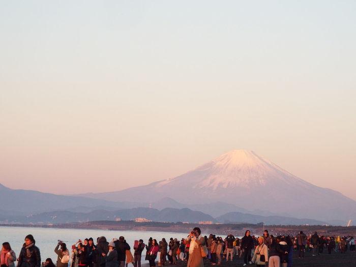 People At Mount Fuji Against Sky