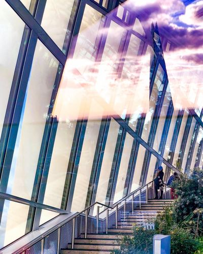 Reflections Glass Reflections ShotOnIphone IPhoneography IPhone Mobilephotography Travel Photography Travel Urban City Cityscape Sky Sky Garden Shard LONDON❤ London Low Angle View Built Structure Architecture Men Sky Day Outdoors