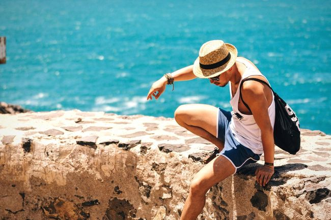 Getting up Sea Leisure Activity Person Coastline Sunny Casual Clothing Water Vacations Travel Destinations Man Self Portrait Selfie ✌ Male Human Body Part Malemodel  Model Sunny Day People And Places Vacations Vacation Holiday Summertime Portrait Lifestyles Life Is A Beach