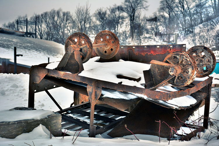 Cold Temperature Winter Snow Nature Metal Rusty No People Day Field Outdoors Sky Land Close-up Abandoned Covering Focus On Foreground Tree Security Frozen Don Valley Brick Works Park