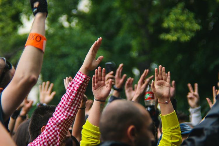 People With Arms Raised At Music Concert