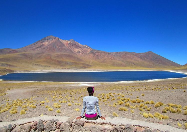 Rear view of woman looking at mountains against clear sky