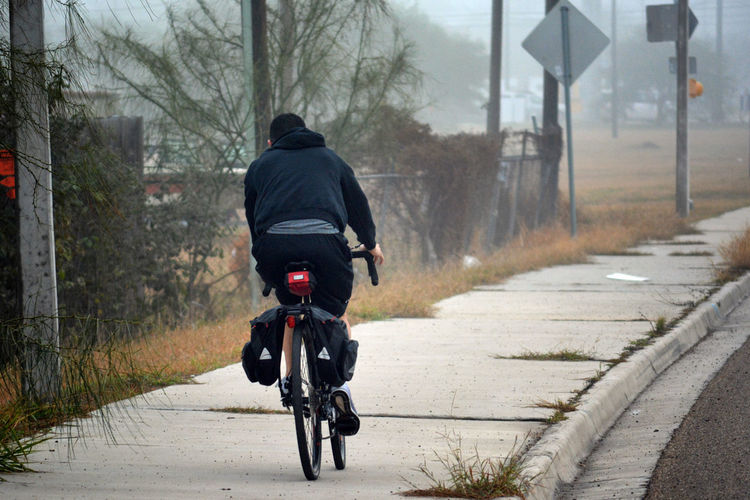 Adult Bicycle Cold Temperature Day Full Length Land Vehicle Lifestyles Men Nature One Person Outdoors People Real People Rear View Road Sky The Way Forward Transportation Tree Warm Clothing Mobility In Mega Cities
