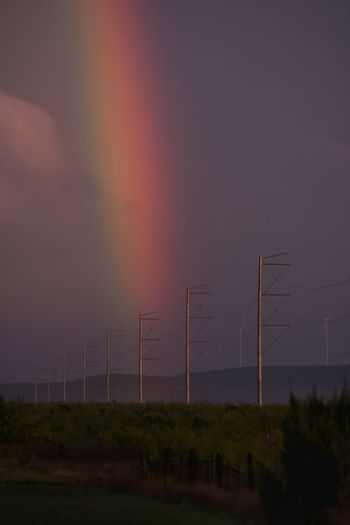 Nature No People Sky Electricity  Environment Sunset Outdoors Night Beauty In Nature Rainbow Colors Rainbows Rainbow Beauty In Nature Texas Photographer Eyeemphotography Sunsetsaroundtheworld Thunderstorm
