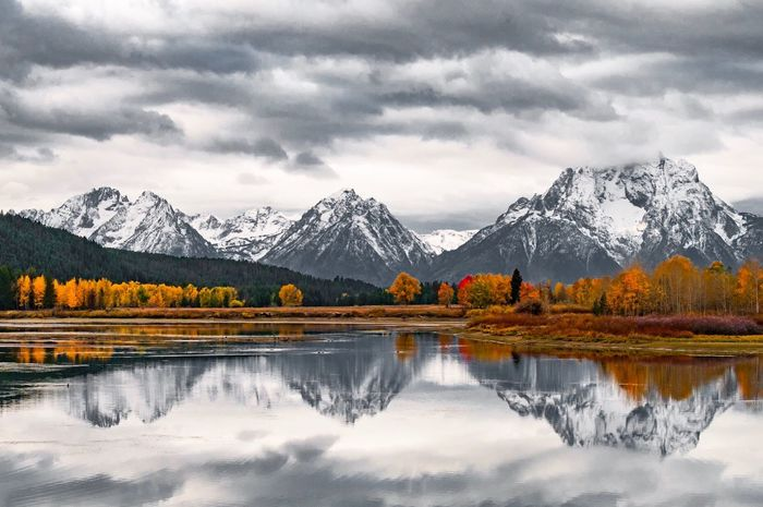 Oxbow Bend Reflection Mountain Beauty In Nature Scenics Tranquil Scene Nature Weather Snow Winter Cold Temperature Cloud - Sky Sky Perspectives On Nature Lake Water Tranquility Mountain Range Outdoors Landscape Tree Grand Teton National Park  Wyoming EyeEm Nature Lover EyeEm Best Shots - Nature EyeEm Best Shots - Landscape