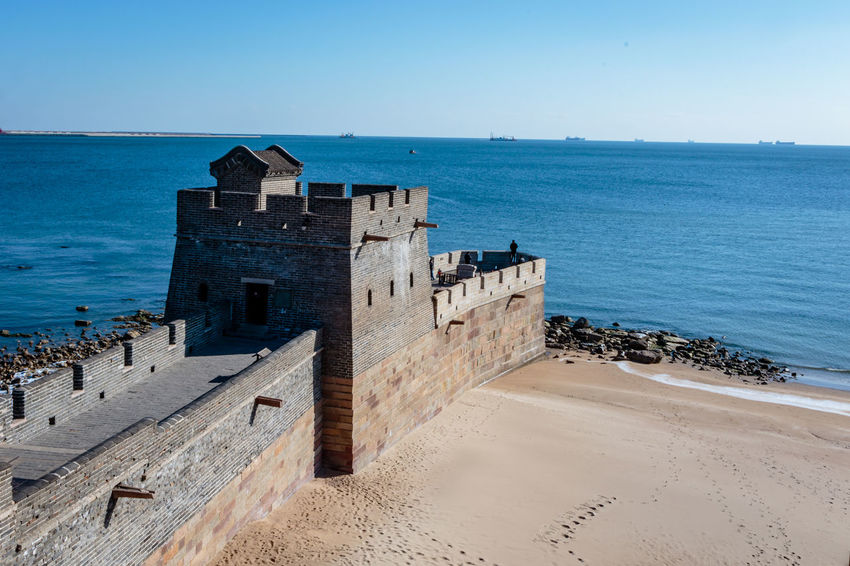 Ancient History Archaeological Site Architecture Castle Great Wall Hebei Sunlight Tourist Attraction Beach China Chinese Clear Sky Fortification Historic Site History Horizon Over Water Landmark Military Qinhuangdao Sand Scenics Sea Shanhaiguan Water