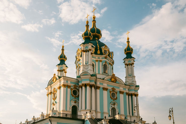 Kiev Kyiv Sky Cloud - Sky Religion Spirituality Built Structure Belief Place Of Worship Architecture Building Exterior Low Angle View Building Nature No People Day Travel Destinations Dome Outdoors Ornate Spire  St. Andrew's Church Andryivsky Uzviz Andreevskiy Spusk андреевскийспуск