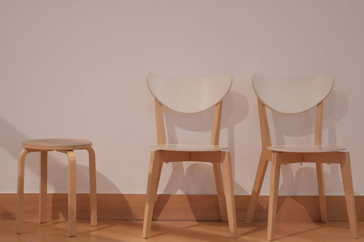 Close-up of chairs on table against wall at home ,interior of ventage .