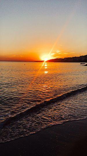 When the sun goes down Peaceful Sundown Sunset Water Sky Sea Scenics - Nature Beauty In Nature Beach Nature Sun Wave No People