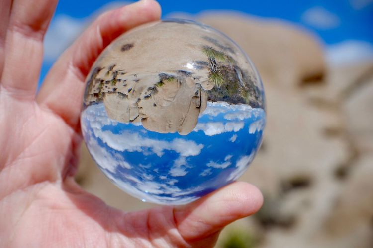 Cropped hand of person holding crystal ball