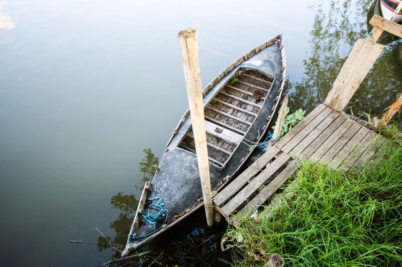 High angle view of abandoned boat on lake