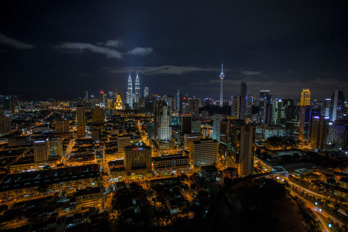 Night Landscape view of Kuala Lumpur City Center. Architecture Building Exterior City Cityscape KLCC Twin Towers Kualalumpur Malaysia Landscape Long Exposure Night Nightscape Outdoors Skyscraper Travel Destinations