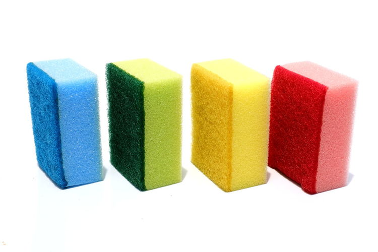 Various color of scouring pad and sponge isolated on white background with add text message. scouring pad and sponge is a cleaning tool used for scouring a surface and cleaning a dishes after cooking. Abrasive Choice Colors Cooking Dish Household Scouring Sponge Shiny Backgrounds Clean Colorful Dish Isolated White Background Kitchen Kitchenware Multi Colored Polish Sponge Texture Variety