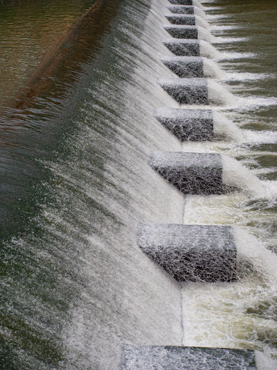 High angle view of water flowing from land