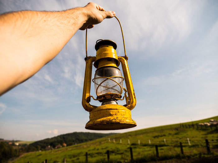 I will need the light for these dark times... Day Gas Holding Lamp Light Outdoors Petrol Rural Scene Sky Sun Sunbeams View Yeallow Yellow