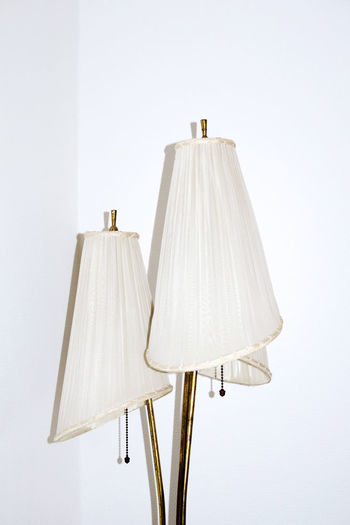 50s style Floor lamp 50s Standard Lamp Standing Close-up Coathanger Corner Day Fifties Floor Lamp Hanging Illumination Indoors  Interior Design Lampshade Light And Shadow Living Room No People Retro Design Retro Styled Style Textile Vintage White Background