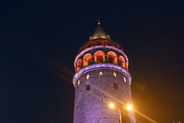 Galata Tower Night Illuminated Architecture Built Structure Building Exterior Low Angle View Tower No People Building Travel Destinations Sky Nature The Past Copy Space City Travel Tall - High Tourism History Outdoors Taksim Night Lights