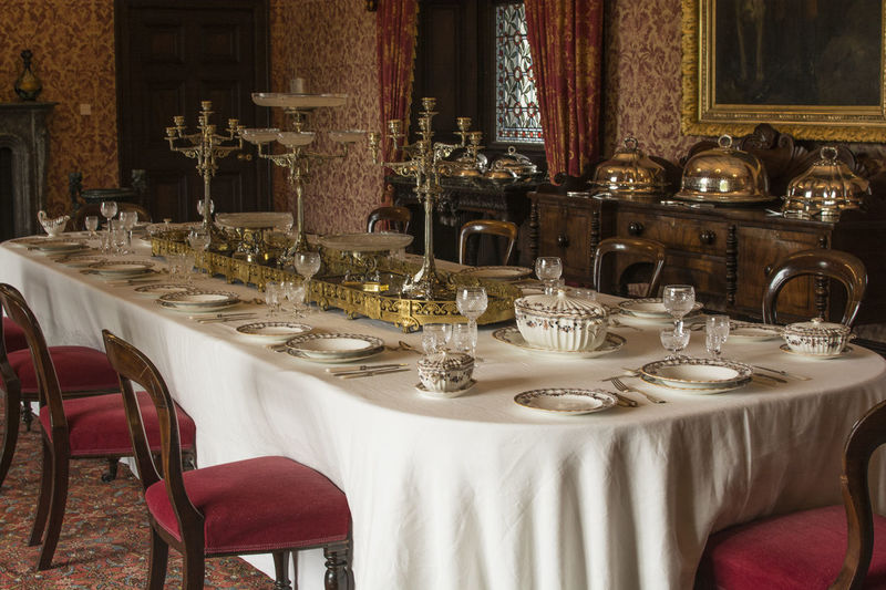 Dining room in Kilkenny Castle Kilkenny Castle Arrangement Chair Curtain Dining Table Diningroom Diningroom, Drinking Glass Elégance Food Food And Drink Furniture Indoors  Napkin No People Place Setting Plate Restaurant Seat Table Tablecloth Wineglass