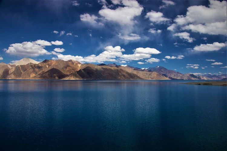 Beautiful Pangong lake, Leh India Water Scenics - Nature Beauty In Nature Mountain Tranquil Scene Cloud - Sky Lake Sky Waterfront Mountain Range Reflection Environment