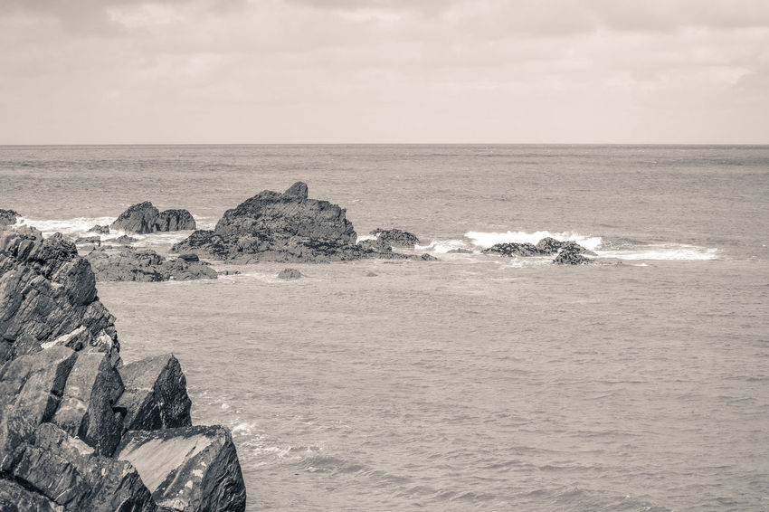 Black & White Coastline Rock Beach Beauty In Nature Black And White Black And White Friday Day Dramatic Landscape Horizon Over Water Landscape Nature No People Outdoors Rock - Object Scenics Sea Sky Texture Tranquility Water Wave