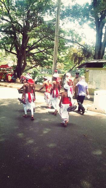 Walking Around Traditional Musicians Traveling In Sri Lanka