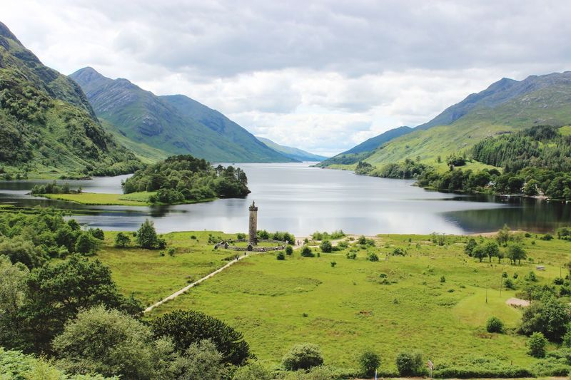 Glenfinnan in the Scottish Highlands in July 2017 Picturesque Beauty Summer Monument Shades Of Green  Beautiful United Kindom Scotland Water Plant Beauty In Nature Scenics - Nature Mountain Sky Tranquil Scene Tranquility Tree Lake Green Color Nature Landscape Mountain Range