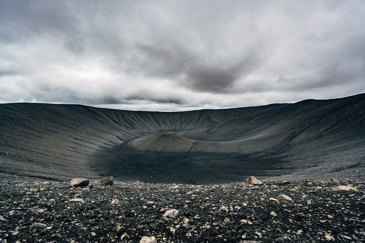 Scenic view of hverfjall against cloudy sky