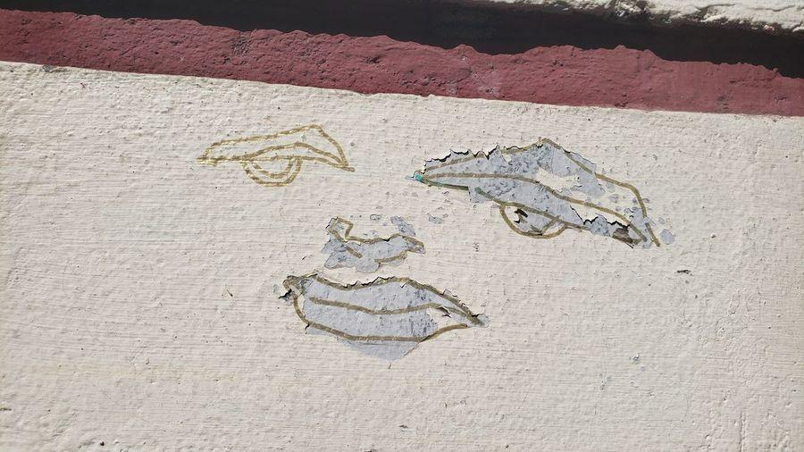 High angle view of animal representation on sand
