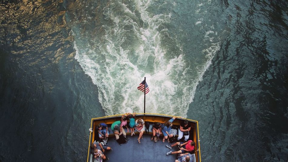 Chicago River water taxi. The Week On EyeEm High Angle View Water Real People Day Men Women Large Group Of People Nautical Vessel Nature Outdoors Adult People Adults Only Chicago Mobility In Mega Cities