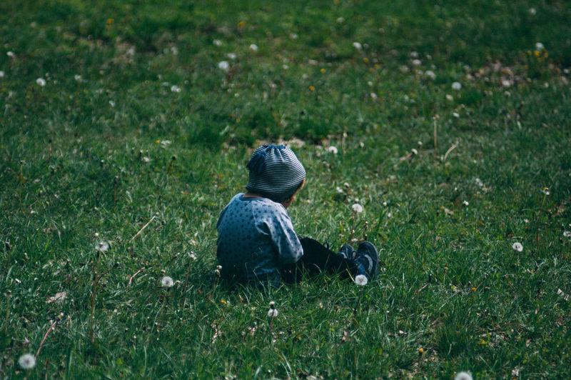 Child sitting on field