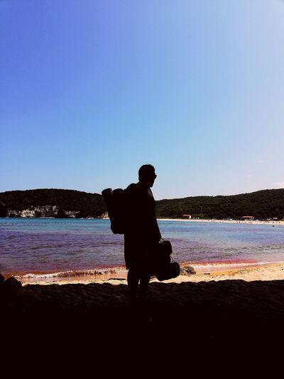 Clear Sky Water Men Beach Sea Standing Silhouette Farmer Low Tide Full Length