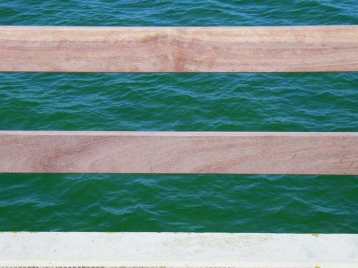 Full frame shot of weathred planks against sea