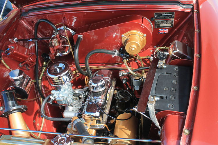 Car Choice Close-up Complexity Day Details Engine Large Group Of Objects Low Angle View No People Old Engine Old-fashioned Red Retail  Transportation
