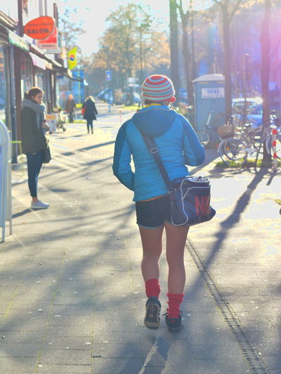 City Life Full Length Hipstergirl People Real People Rear View Sunlight Winter Wintertime
