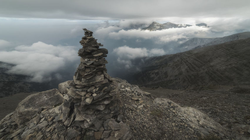 Cairn at Mount Olympus Cloud - Sky No People Mountain Cloud - Sky Fog Nature Tree Outdoors Day Olympos Greece Greece Landscapes Greece Photos Non-urban Scene Landscapes Atmosphere Majestic Mood Adventure Sky Scenics Moody Sky Idyllic Fall Travel Tranquil Scene